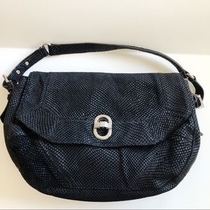 AIMEE KESTENBERG Black Leather Snake Print Bag